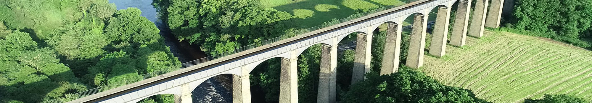 Drone footage of Pontcysyllte Aqueduct in Wrexham, North Wales