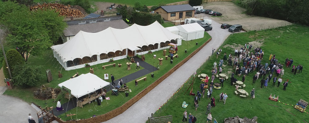Aerial video of wedding with marquee in North Wales